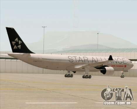 Airbus A330-300 Air Canada Star Alliance Livery para GTA San Andreas vista interior