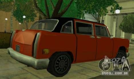 Cabbie Restyle para GTA San Andreas traseira esquerda vista