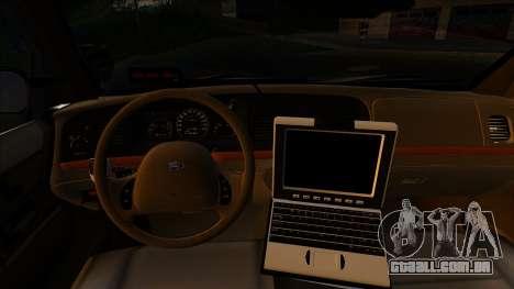 LAPD Ford Crown Victoria Whelen Lightbar para GTA San Andreas traseira esquerda vista