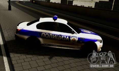 BMW M5 E60 POLICIJA para GTA San Andreas esquerda vista