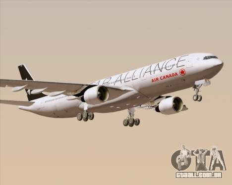 Airbus A330-300 Air Canada Star Alliance Livery para vista lateral GTA San Andreas