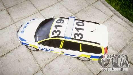 Volvo V70 2014 Swedish Police [ELS] Marked para GTA 4 vista direita