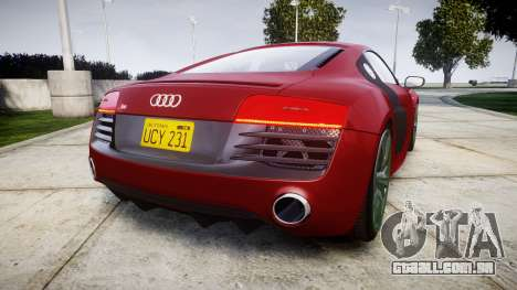 Audi R8 V10 Plus 2014 para GTA 4 traseira esquerda vista
