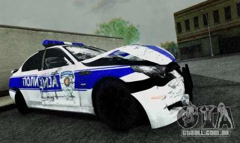BMW M5 E60 POLICIJA para GTA San Andreas vista direita