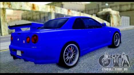 Nissan Skyline GTR R-34 from Fast and Furious 4 para GTA San Andreas esquerda vista