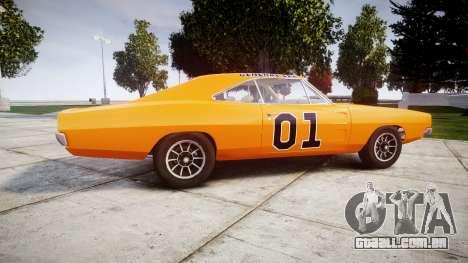 Dodge Charger RT 1969 General Lee para GTA 4 esquerda vista