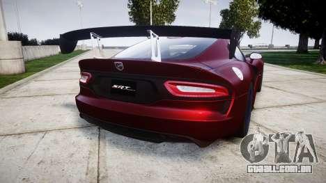 Dodge Viper SRT GTS 2013 para GTA 4 traseira esquerda vista