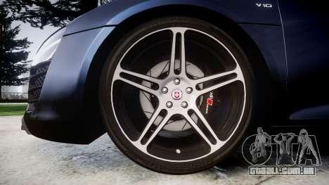 Audi R8 plus 2013 HRE rims para GTA 4 vista de volta