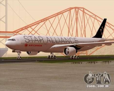 Airbus A330-300 Air Canada Star Alliance Livery para GTA San Andreas vista superior
