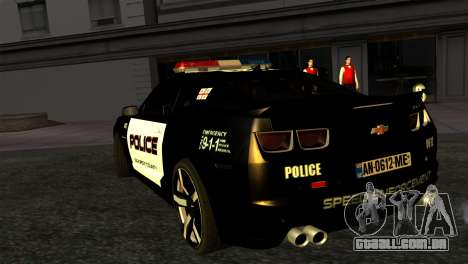Chevrolet Camaro Police para GTA San Andreas esquerda vista