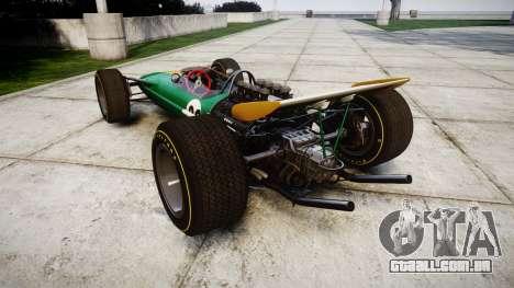 Lotus Type 49 1967 [RIV] PJ25-26 para GTA 4 traseira esquerda vista