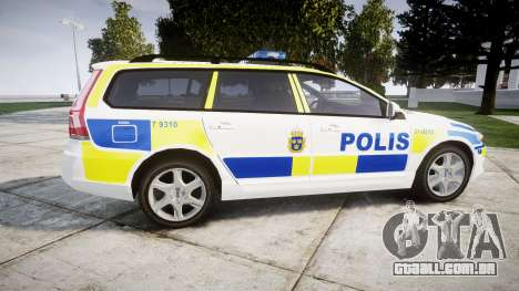 Volvo V70 2014 Swedish Police [ELS] Marked para GTA 4 esquerda vista