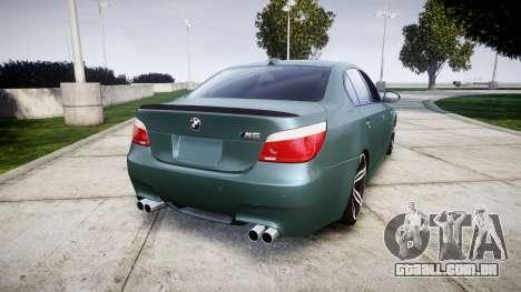 BMW M5 E60 v2.0 Stock rims para GTA 4 traseira esquerda vista