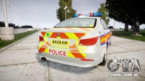 BMW 525d E60 2009 Police [ELS] para GTA 4 traseira esquerda vista