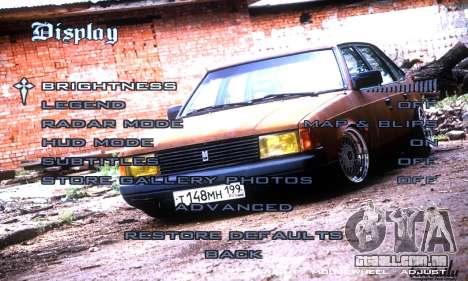 Menu Russo Carros para GTA San Andreas quinto tela