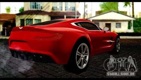 Aston Martin One-77 Black Beige para GTA San Andreas esquerda vista