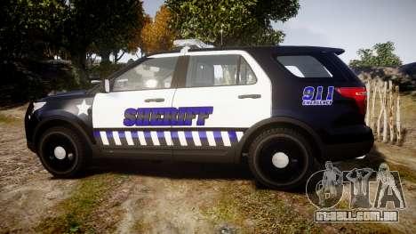 Ford Explorer 2013 Sheriff [ELS] v1.0L para GTA 4 esquerda vista