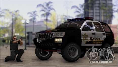Jeep Grand Cherokee 1999 Sheriff para GTA San Andreas traseira esquerda vista