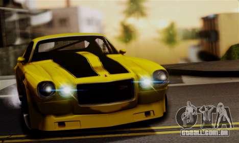 Chevrolet Camaro Mk.II para GTA San Andreas vista traseira
