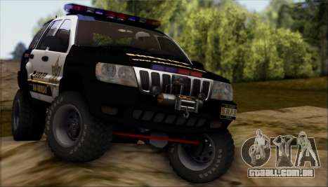 Jeep Grand Cherokee 1999 Sheriff para vista lateral GTA San Andreas