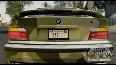 BMW M3 E36 Camo Drift para GTA San Andreas vista traseira