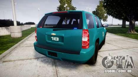 Chevrolet Tahoe 2013 Game Warden [ELS] para GTA 4 traseira esquerda vista