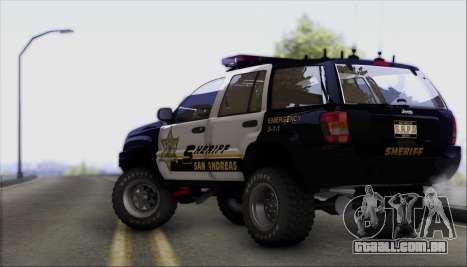 Jeep Grand Cherokee 1999 Sheriff para GTA San Andreas vista traseira