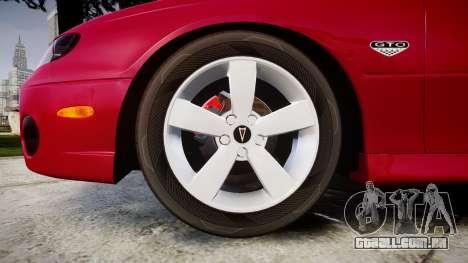 Pontiac GTO 2006 18in wheels para GTA 4 vista de volta