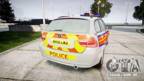 BMW 325d E91 2010 Metropolitan Police [ELS] para GTA 4 traseira esquerda vista
