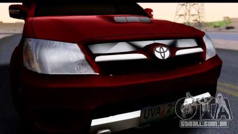 Toyota Hilux FB para GTA San Andreas vista direita