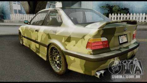 BMW M3 E36 Camo Drift para GTA San Andreas esquerda vista