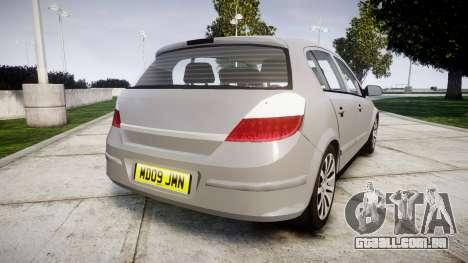 Vauxhall Astra 2009 Police [ELS] Unmarked para GTA 4 traseira esquerda vista