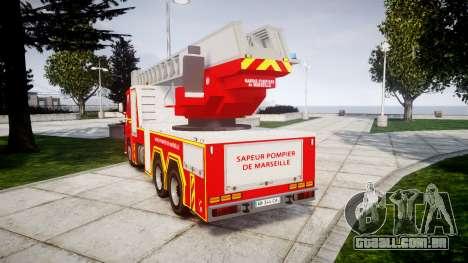 Scania R580 Marseille Fireladder [ELS] para GTA 4 traseira esquerda vista