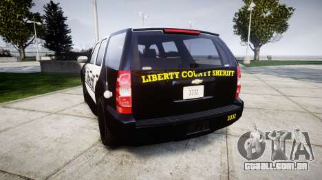 Chevrolet Tahoe 2013 County Sheriff [ELS] para GTA 4 traseira esquerda vista