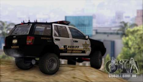 Jeep Grand Cherokee 1999 Sheriff para GTA San Andreas vista interior