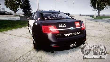 Ford Taurus 2013 Georgia Police [ELS] para GTA 4 traseira esquerda vista