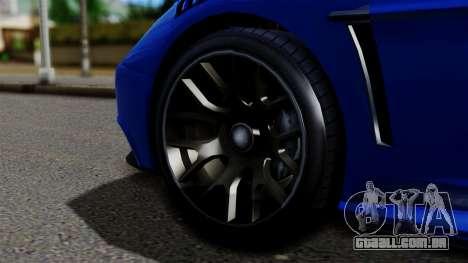 GTA 5 Dewbauchee Massacro Racecar para GTA San Andreas traseira esquerda vista