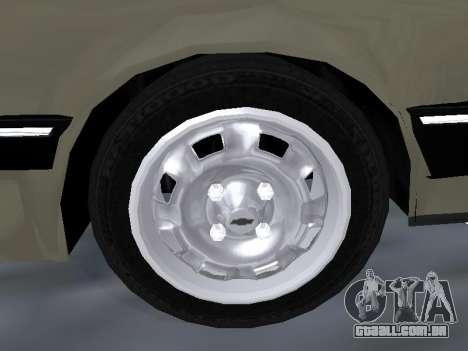 Chevrolet Chevette Hatch para GTA San Andreas vista inferior