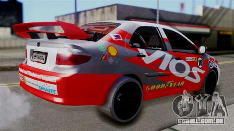 Toyota Vios TRD Racing v2 para GTA San Andreas esquerda vista