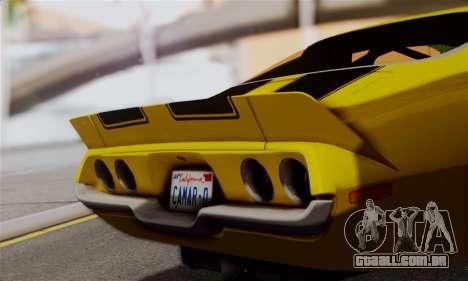 Chevrolet Camaro Mk.II para GTA San Andreas traseira esquerda vista