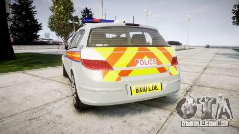 Vauxhall Astra 2010 Police [ELS] Whelen Liberty para GTA 4 traseira esquerda vista