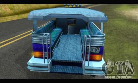 Jeepney from Binan para GTA San Andreas vista interior