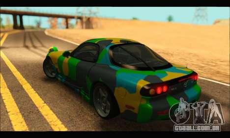 Mazda RX-7 Camo para GTA San Andreas esquerda vista