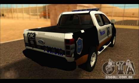 Ford Ranger P.B.A 2015 Text3 para GTA San Andreas esquerda vista