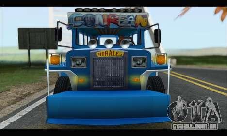 Jeepney Morales para GTA San Andreas vista traseira
