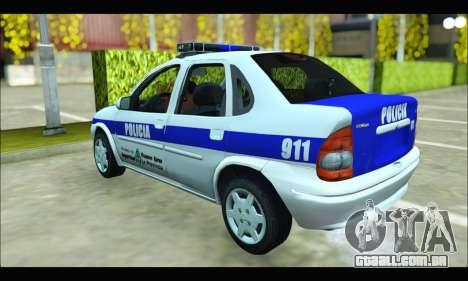 Chevrolet Corsa Policia Bonaerense para GTA San Andreas traseira esquerda vista
