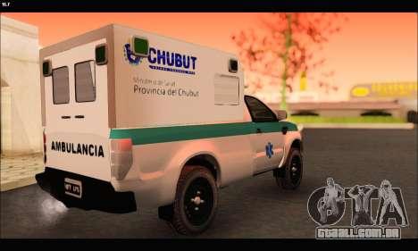 Ford Ranger 2013 Ambulancia Chubut para GTA San Andreas traseira esquerda vista