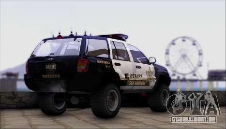 Jeep Grand Cherokee 1999 Sheriff para GTA San Andreas esquerda vista