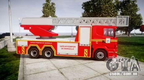 Scania R580 Marseille Fireladder [ELS] para GTA 4 esquerda vista