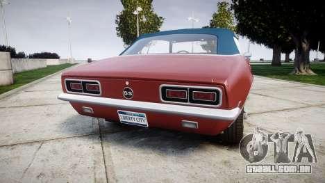 Chevrolet Camaro Mk.I 1968 rims1 para GTA 4 traseira esquerda vista